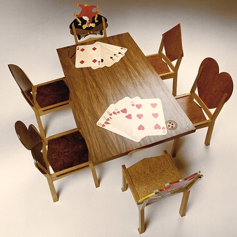 Dining suite incorporating poker hands