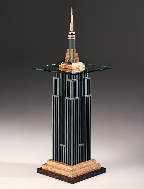 Side table with glass top, based on the Empire State Building