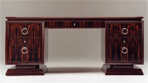 Art Deco pedestal desk in Rio rosewood with hand-made metal furniture fittings